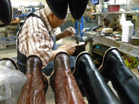 Inside JB Hill boot factory, El Paso.